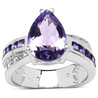 Malaika Sterling Silver Pear-cut Amethyst White Topaz Ring