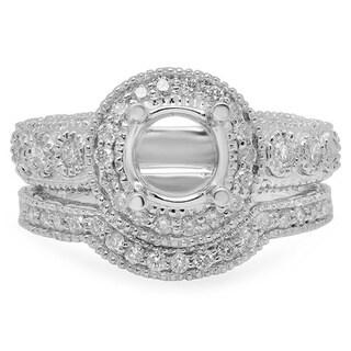 14k White Gold 3/4ct TDW Diamond Semi-mount Bridal Ring Set (H-I, I1-I2)
