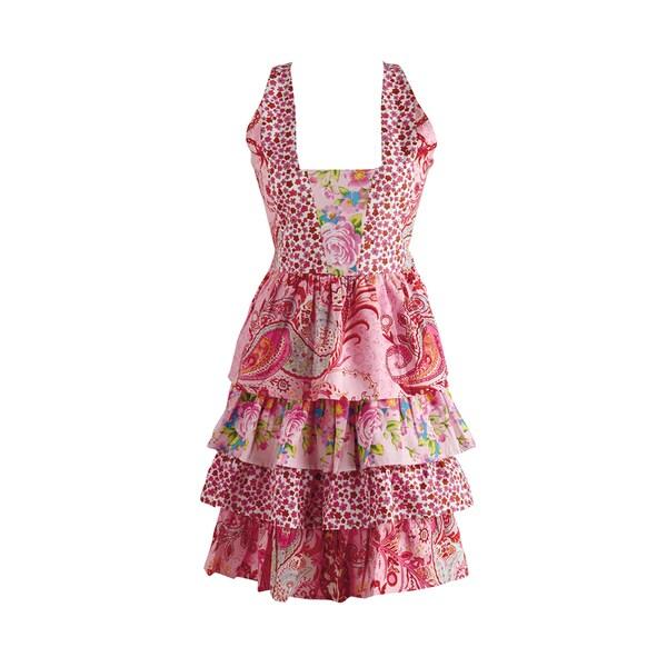 Design Imports Pink Floral Vintage Apron