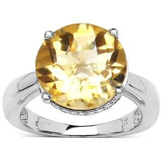 Malaika Sterling SIlver 5.50 Carat Genuine Citrine Ring