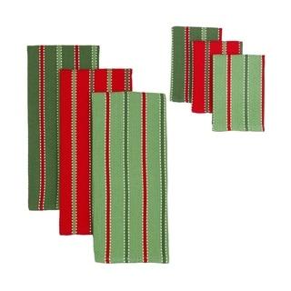 Design Imports Sprig Stripe Heavyweight Dishtowel and Dishcloth (Set of 3)