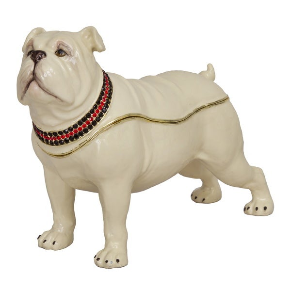 Large Bulldog Swarovski Crystal Trinket Box