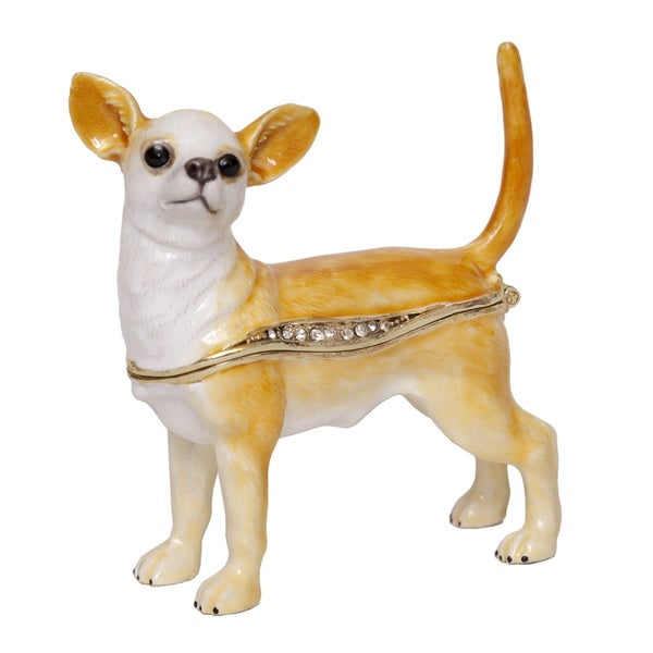 Chihuahua Swarovski Crystal Trinket Box with Pendant