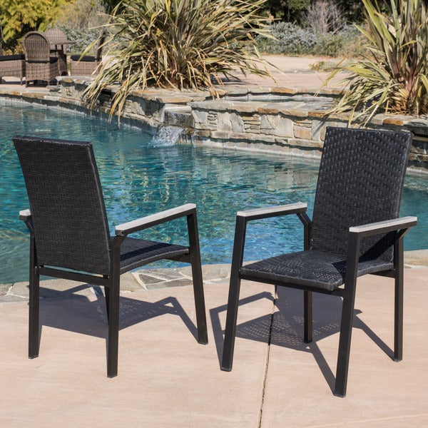 Christopher Knight Home Freeport Outdoor Black Wicker Armchair Set of 4
