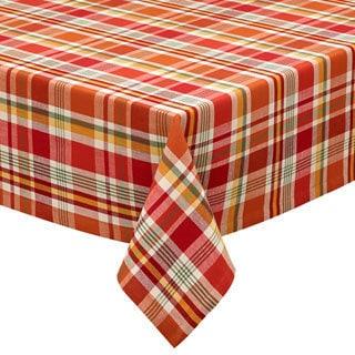 "Design Imports Pumpkin Patch Plaid Tablecloth (52"" x 52"")"