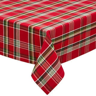 "Design Imports Jingle Bell Plaid Tablecloth (60"" x 84"")"