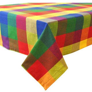 """Design Imports Palette Check Indian Summer Tablecloth (60"""" x 84"""")"""