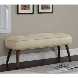 Kelly 48-inch Mid Century Cream Bonded Tufted Bench