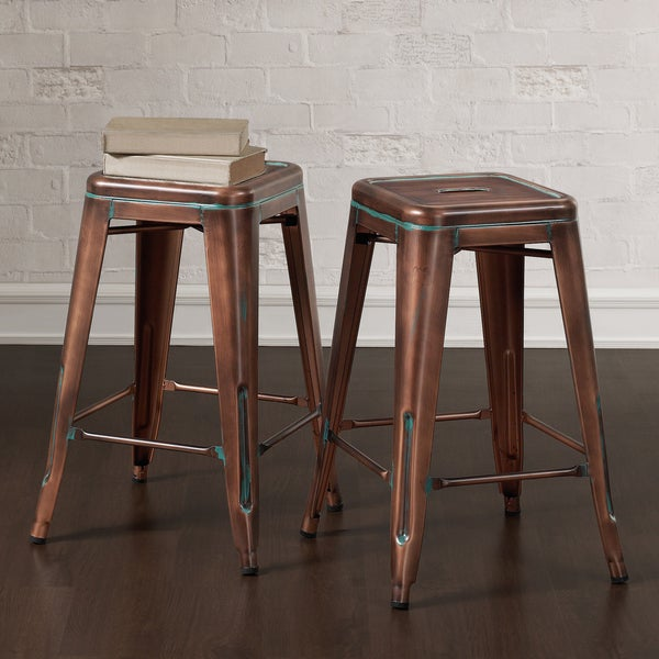 Tabouret 24 Inch Weathered Copper Counter Stools Set Of 2