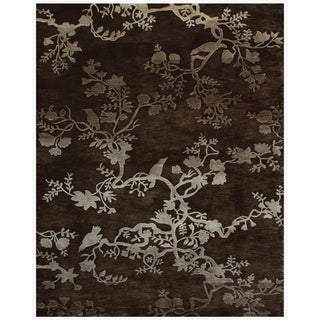 """Grand Bazaar Hand-knotted 100-percent Wool Pile Bodhi Rug in Chocolate 8'-6"""" x 11'-6"""""""