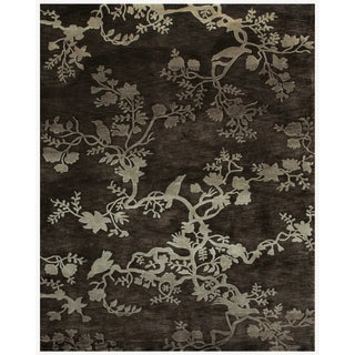 """Grand Bazaar Hand-knotted 100-percent Wool Pile Bodhi Rug in Charcoal 8'-6"""" x 11'-6"""""""