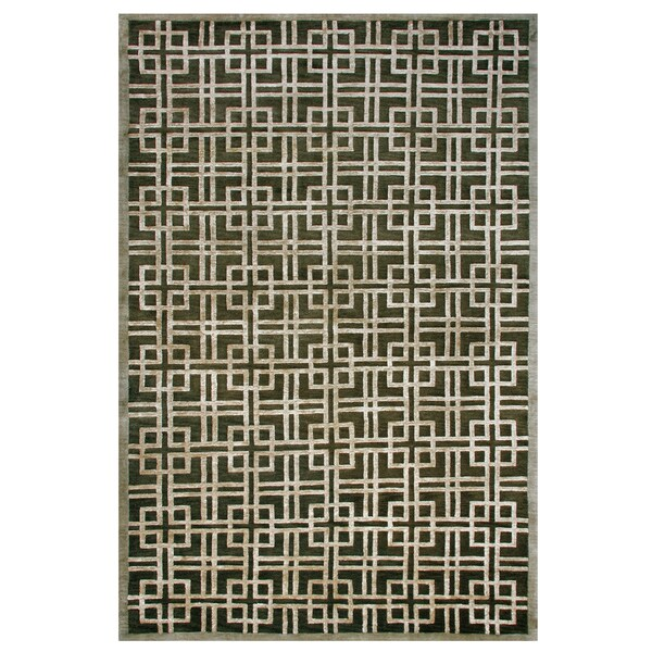 "Grand Bazaar Hand-knotted Wool & Viscose Dim Sum Rug in Bonsai 7'-9"" x 9'-9"""