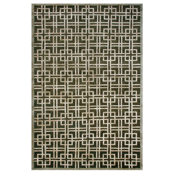 "Grand Bazaar Hand-knotted Wool & Viscose Dim Sum Rug in Bonsai 5'-6"" x 8'-6"""