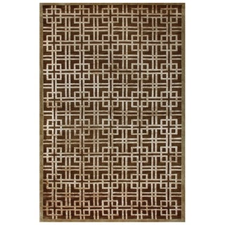 Feizy Dim Sum Brown/Gold Geometric Blended Wool Area Rug (5'6 x 8'6)
