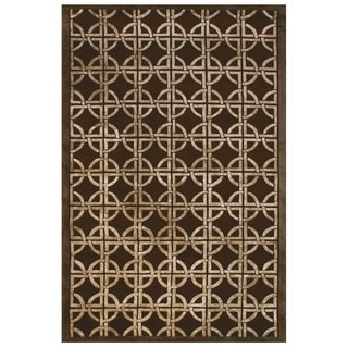 Feizy Dim Sum Chocolate Geometric Blended Wool Area Rug (5'6 x 8'6)
