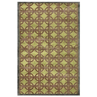Feizy Dim Sum Key Lime Geometric Blended Wool Area Rug (5'6 x 8'6)
