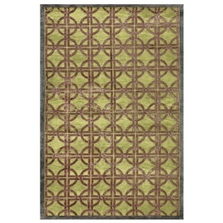 Grand Bazaar Dim Sum Key Lime Geometric Blended Wool Area Rug (7'9 x 9'9)