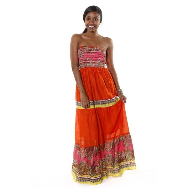 Hadari Women's Strapless Multi Colored Paisley Maxi Dress