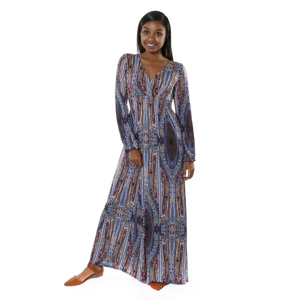 Hadari Women's V-neck Multicolored Paisley Maxi Dress