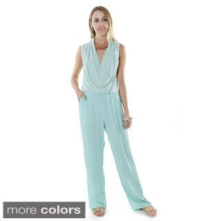 Hadari Women's Cotton Sleeveless Surplice Neckline Jumpsuit
