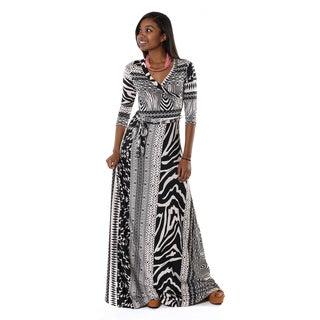 Hadari Women's Tribal V-neck 3/4 Sleeve Maxi Dress