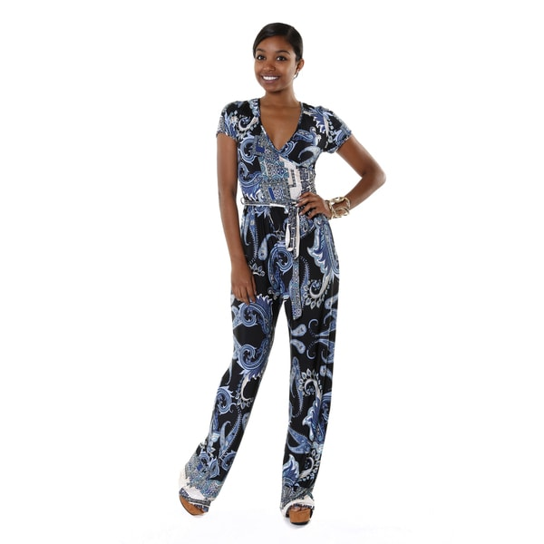 Hadari Women's Short Sleeve Deep V-neck Blue Paisley Jumpsuit