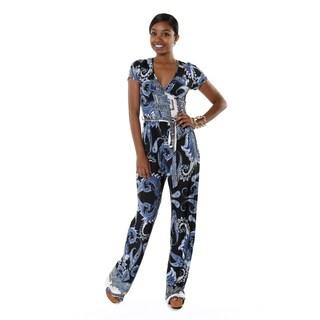 Hadari Women's Short Sleeve Deep V-neck Blue Paisley Jumpsuit