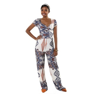 Hadari Women's Short Sleeve V-neck Brocade Jumpsuit