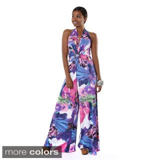 Hadari Women's Floral Multicolored V-neck Halter Jumpsuit