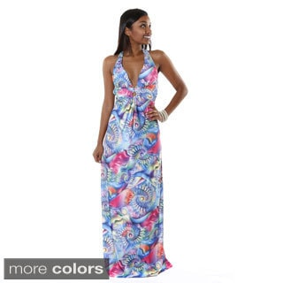 Hadari Women's Multicolored V-Neck Razor Back Maxi Dress