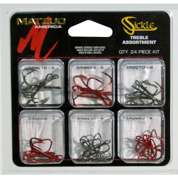 Matzuo Sickle 24 Piece Treble Hook Assortment