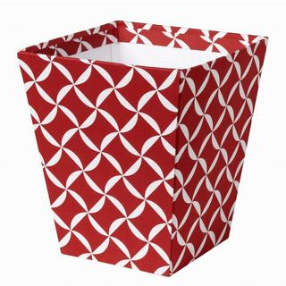 Red Fabric Covered Wastebasket