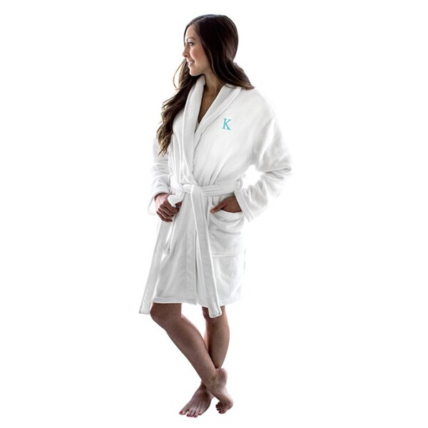 Personalized Initial White Plush Robe