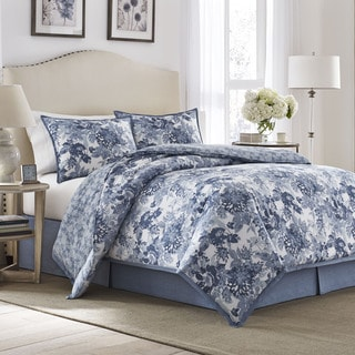 Laura Ashley Ellison Reversible Cotton 4-piece Comforter Set