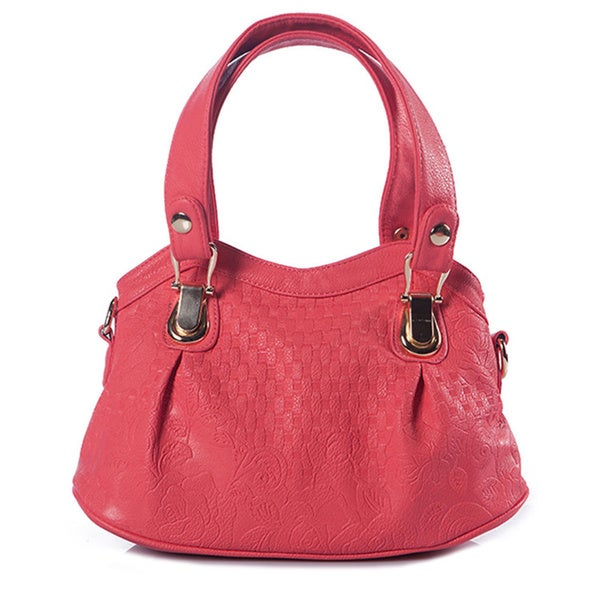 Red Quilted Faux Leather Tote Bag