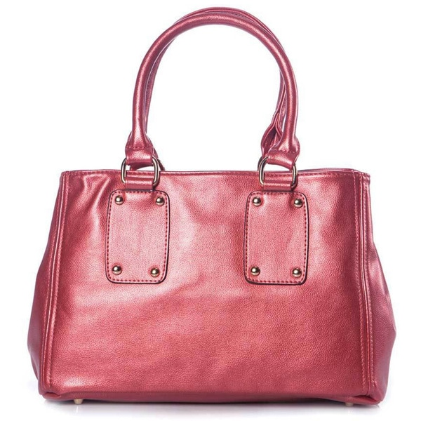 Pearlized Red Leatherette Bowler Bag