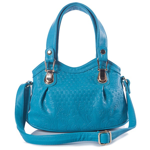 Cerulean Blue Quilted Faux Leather Tote Bag