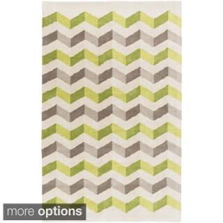 Hand-Tufted Quintin Geometric Pattern Wool Rug (2' x 3')