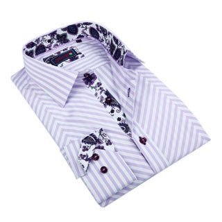 Johnny D. Men's Light Purple Patterned Button-down Shirt