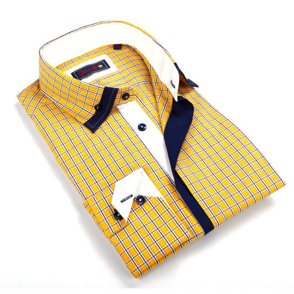 Johnny D. Men's Yellow Patterned Button-down Shirt