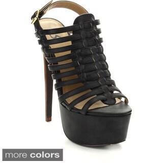 Fahrenheit Women's 'Padma-12' Caged Stiletto Sandals