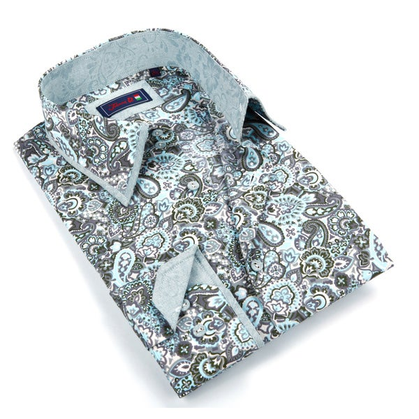 Johnny D. Men's Grey and Green Patterned Button-down Shirt