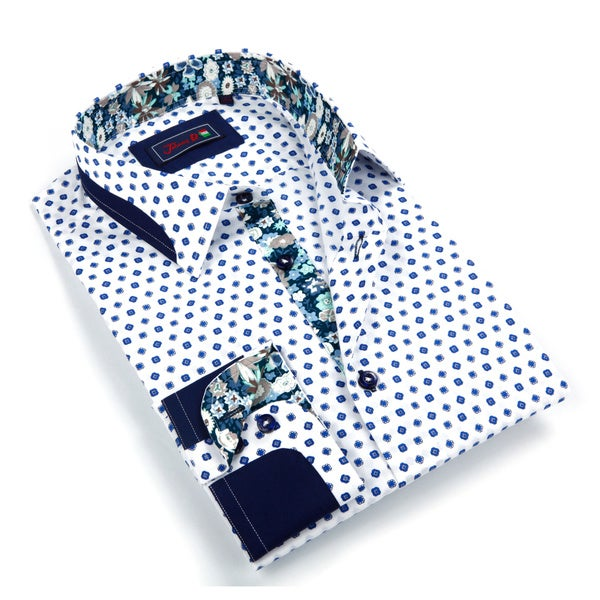 Johnny D. Men's White Patterned Button-down Shirt