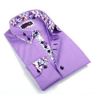 Johnny D. Men's Purple Patterned Button-down Shirt