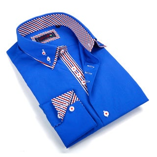 Johnny D. Men's Blue Patterned Button-down Shirt
