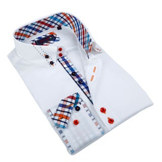 Johnny D. Men's White Patterned Accent Button-down Shirt