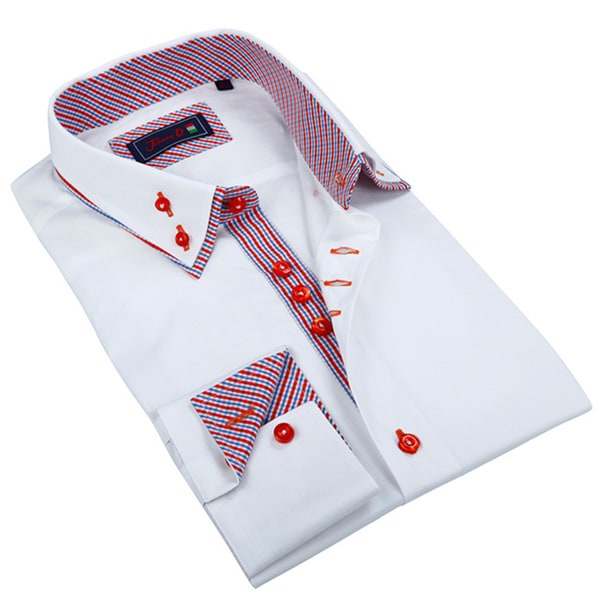 Johnny D. Men's White and Red Patterned Button-down Shirt