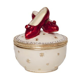 Bejeweled RUBY'S II Multi-color Musical Red Slipper Crystal Trinket Box