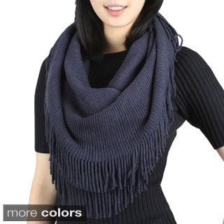 Double Side Fringe Solid Color Infinity Scarf