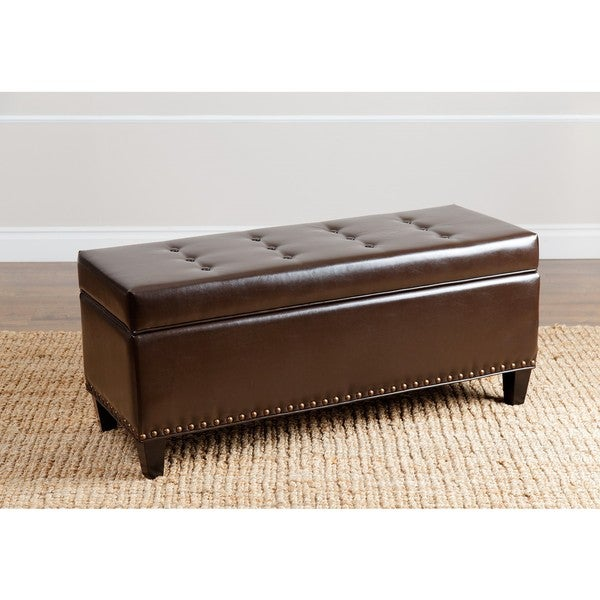Abbyson Living Charles Dark Brown Leather Nailhead-trim Storage Ottoman
